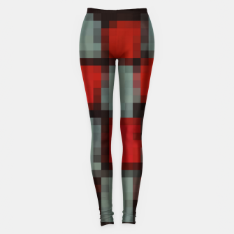 Thumbnail image of pixel geometric square pattern abstract in red and black Leggings, Live Heroes