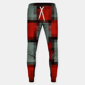Thumbnail image of pixel geometric square pattern abstract in red and black Sweatpants, Live Heroes
