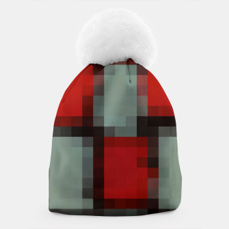 Thumbnail image of pixel geometric square pattern abstract in red and black Beanie, Live Heroes