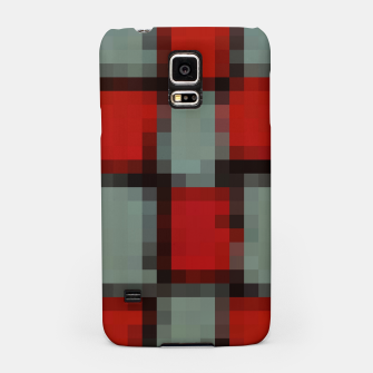 Thumbnail image of pixel geometric square pattern abstract in red and black Samsung Case, Live Heroes