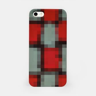 Thumbnail image of pixel geometric square pattern abstract in red and black iPhone Case, Live Heroes