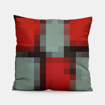 Thumbnail image of pixel geometric square pattern abstract in red and black Pillow, Live Heroes