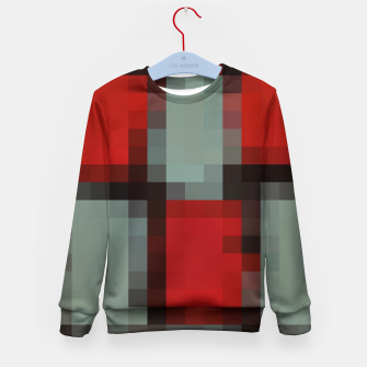 Thumbnail image of pixel geometric square pattern abstract in red and black Kid's sweater, Live Heroes