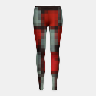 Thumbnail image of pixel geometric square pattern abstract in red and black Girl's leggings, Live Heroes