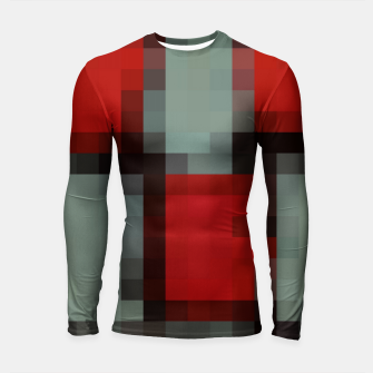 Thumbnail image of pixel geometric square pattern abstract in red and black Longsleeve rashguard , Live Heroes