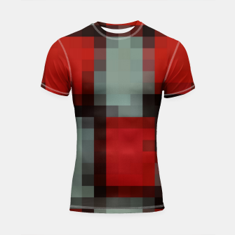 Thumbnail image of pixel geometric square pattern abstract in red and black Shortsleeve rashguard, Live Heroes