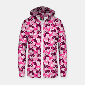 Thumbnail image of Ghostly camouflaging cats are watching you in pink Zip up hoodie, Live Heroes