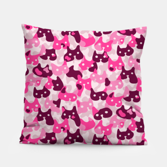 Thumbnail image of Ghostly camouflaging cats are watching you in pink Pillow, Live Heroes