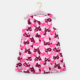 Thumbnail image of Ghostly camouflaging cats are watching you in pink Girl's summer dress, Live Heroes