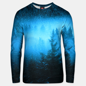 Magical fog in snowy spruce forest Unisex sweater Bild der Miniatur