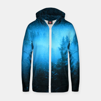 Magical fog in snowy spruce forest Zip up hoodie Bild der Miniatur