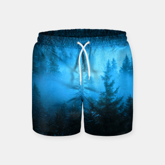 Magical fog in snowy spruce forest Swim Shorts Bild der Miniatur