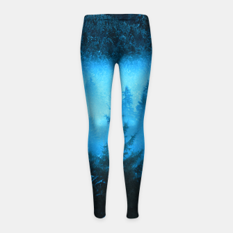 Thumbnail image of Magical fog in snowy spruce forest Girl's leggings, Live Heroes