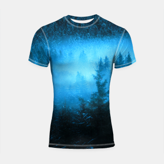 Thumbnail image of Magical fog in snowy spruce forest Shortsleeve rashguard, Live Heroes