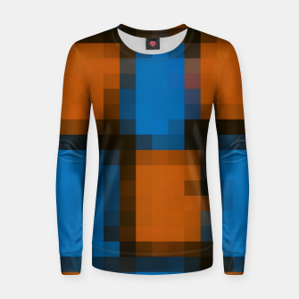 Thumbnail image of pixel geometric square pattern abstract in orange blue black Women sweater, Live Heroes