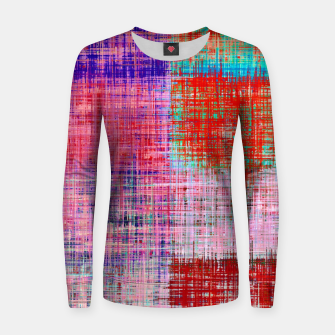 Thumbnail image of square plaid pattern texture abstract in red blue pink purple Women sweater, Live Heroes