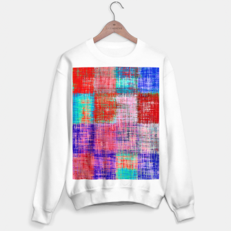Thumbnail image of square plaid pattern texture abstract in red blue pink purple Sweater regular, Live Heroes