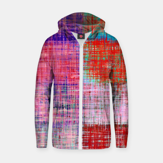 Thumbnail image of square plaid pattern texture abstract in red blue pink purple Zip up hoodie, Live Heroes