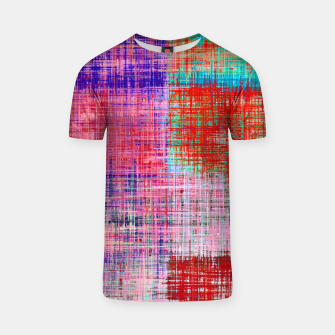 Thumbnail image of square plaid pattern texture abstract in red blue pink purple T-shirt, Live Heroes