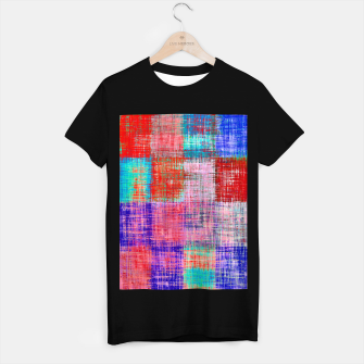 Thumbnail image of square plaid pattern texture abstract in red blue pink purple T-shirt regular, Live Heroes