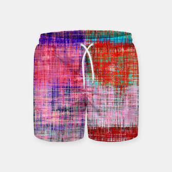 Thumbnail image of square plaid pattern texture abstract in red blue pink purple Swim Shorts, Live Heroes