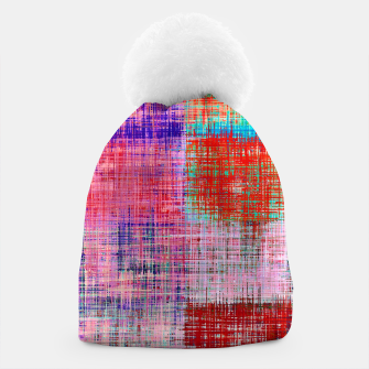 Thumbnail image of square plaid pattern texture abstract in red blue pink purple Beanie, Live Heroes