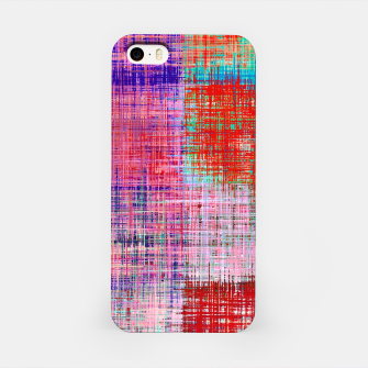 Thumbnail image of square plaid pattern texture abstract in red blue pink purple iPhone Case, Live Heroes