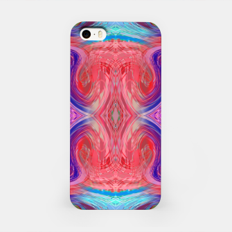 Miniature de image de psychedelic geometric symmetry abstract pattern in red pink blue iPhone Case, Live Heroes
