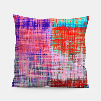 Thumbnail image of square plaid pattern texture abstract in red blue pink purple Pillow, Live Heroes