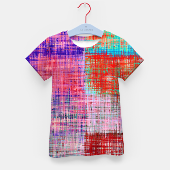 Thumbnail image of square plaid pattern texture abstract in red blue pink purple Kid's t-shirt, Live Heroes