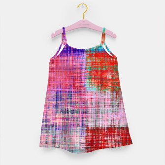 Thumbnail image of square plaid pattern texture abstract in red blue pink purple Girl's dress, Live Heroes