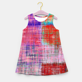 Thumbnail image of square plaid pattern texture abstract in red blue pink purple Girl's summer dress, Live Heroes