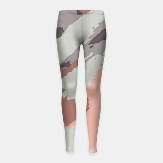 Miniaturka camouflage graffiti painting texture abstract pink grey and black Girl's leggings, Live Heroes