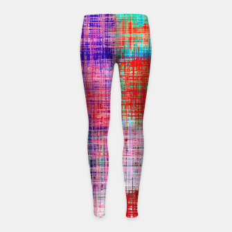 Thumbnail image of square plaid pattern texture abstract in red blue pink purple Girl's leggings, Live Heroes