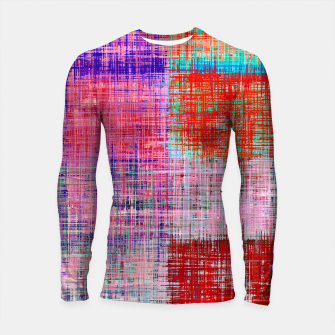 Thumbnail image of square plaid pattern texture abstract in red blue pink purple Longsleeve rashguard , Live Heroes
