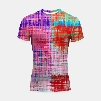 Thumbnail image of square plaid pattern texture abstract in red blue pink purple Shortsleeve rashguard, Live Heroes