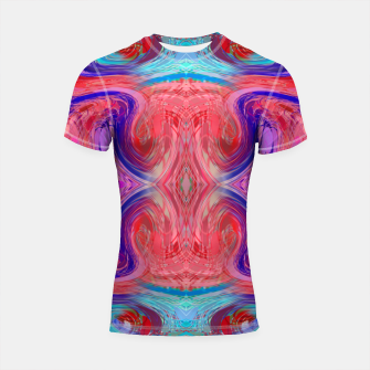 Miniature de image de psychedelic geometric symmetry abstract pattern in red pink blue Shortsleeve rashguard, Live Heroes