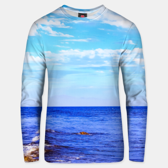 Miniatur blue ocean view with blue cloudy sky in summer Unisex sweater, Live Heroes