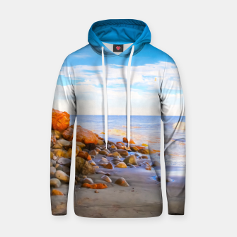 Miniatur sandy beach with blue cloudy sky in summer Hoodie, Live Heroes