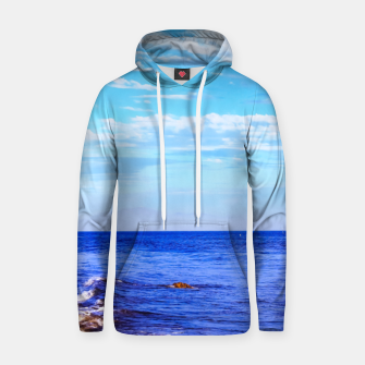 Miniatur blue ocean view with blue cloudy sky in summer Hoodie, Live Heroes