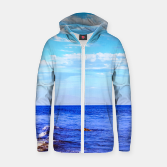 Miniatur blue ocean view with blue cloudy sky in summer Zip up hoodie, Live Heroes