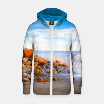 Miniatur sandy beach with blue cloudy sky in summer Zip up hoodie, Live Heroes