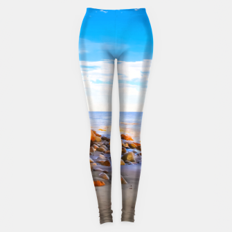 Miniatur sandy beach with blue cloudy sky in summer Leggings, Live Heroes