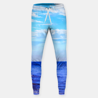 Miniatur blue ocean view with blue cloudy sky in summer Sweatpants, Live Heroes