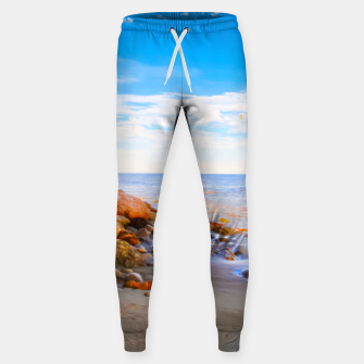 Miniatur sandy beach with blue cloudy sky in summer Sweatpants, Live Heroes