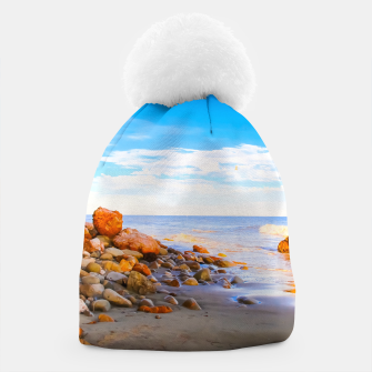 Miniatur sandy beach with blue cloudy sky in summer Beanie, Live Heroes