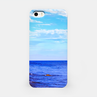 Miniatur blue ocean view with blue cloudy sky in summer iPhone Case, Live Heroes