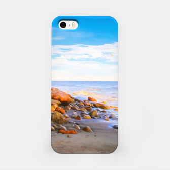 Miniatur sandy beach with blue cloudy sky in summer iPhone Case, Live Heroes
