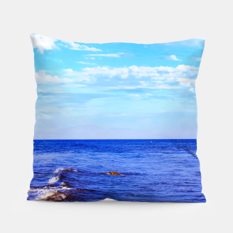 Miniatur blue ocean view with blue cloudy sky in summer Pillow, Live Heroes