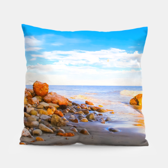 Miniatur sandy beach with blue cloudy sky in summer Pillow, Live Heroes